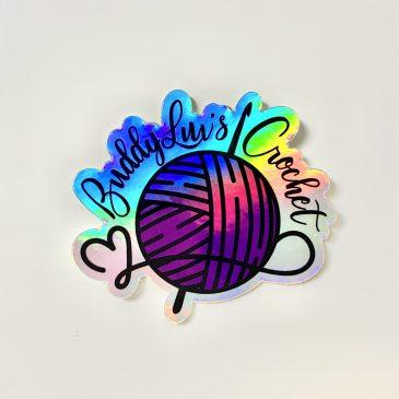 Holographic BuddyLuv's Crochet Logo Sticker