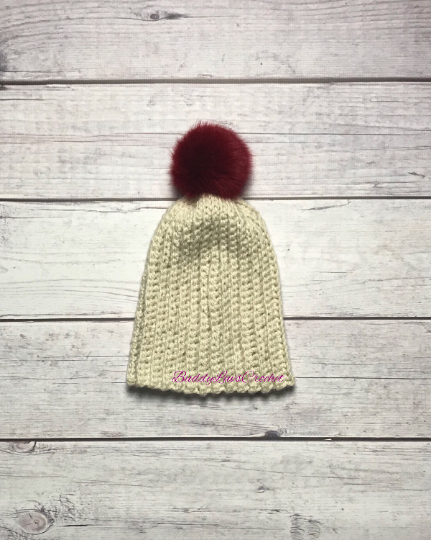Handmade Crochet Slouchy Hat with Faux Pom